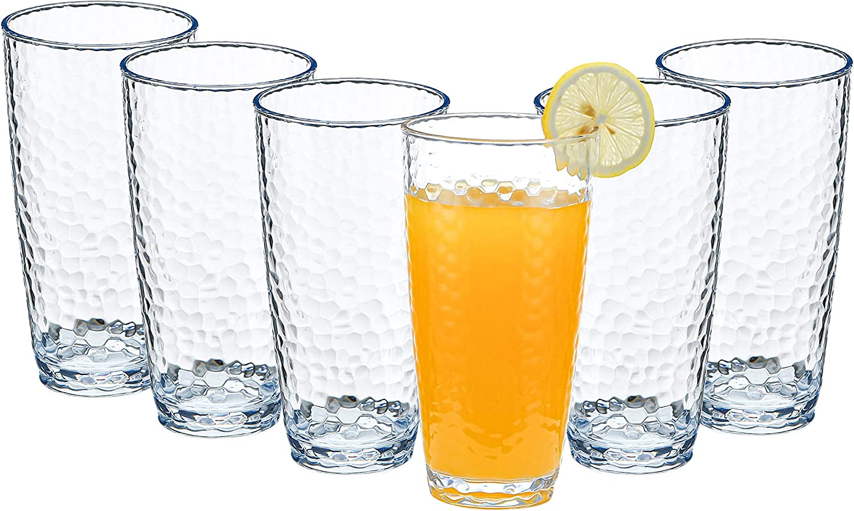 Kurala Unbreakable Plastic Tumbler Cups, Set of 6, Large Water Tumbler Set, 25 oz Highball Drinking Glasses, Dishwasher Safe (Clear)