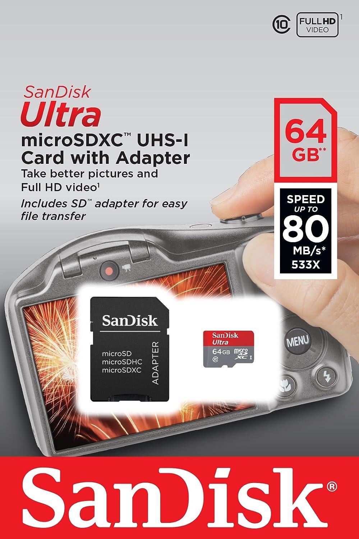 Sandisk Ultra 64 Gb Microsdxc Uhs I C10 Imaging Memory Computers Accessories