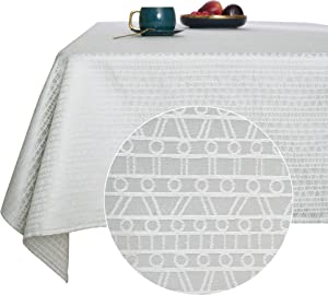 Deconovo Table Cloths Jacquard Design Pattern Oblong Water Resistant Wrinkle Free Decorative Tablecloths for Kitchen 54W x 84L Light Gray
