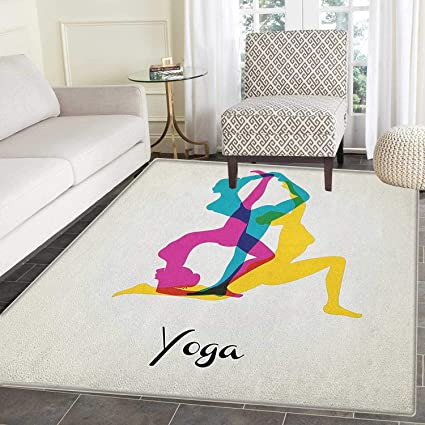 Amazon.com: Yoga Rug Kid Carpet Different Yoga Poses ...