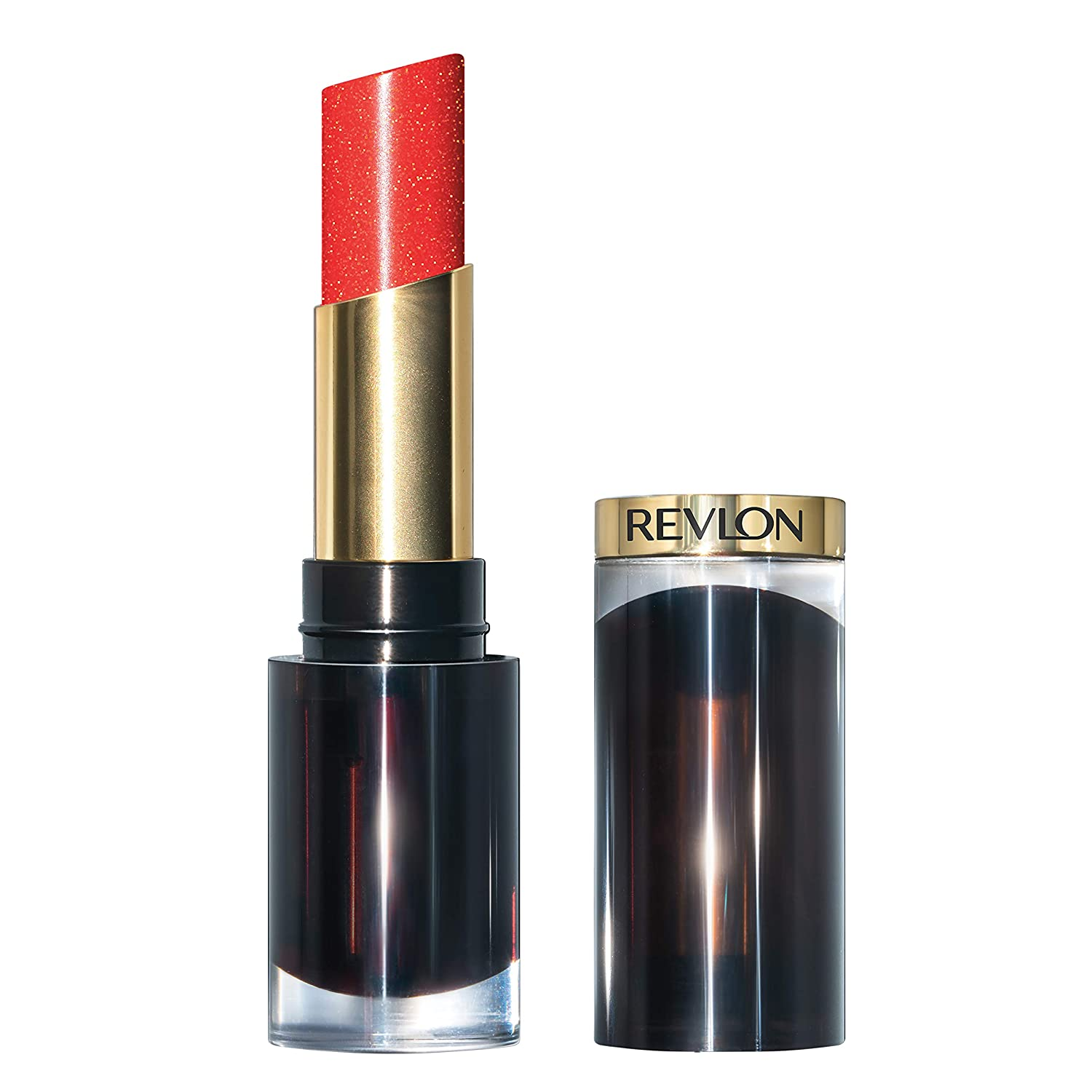 Revlon Super Lustrous Glass Shine Lipstick, Moisturizing Lipstick with Aloe and Rose Quartz in Red, 023 Glaring Red, 0.15 oz