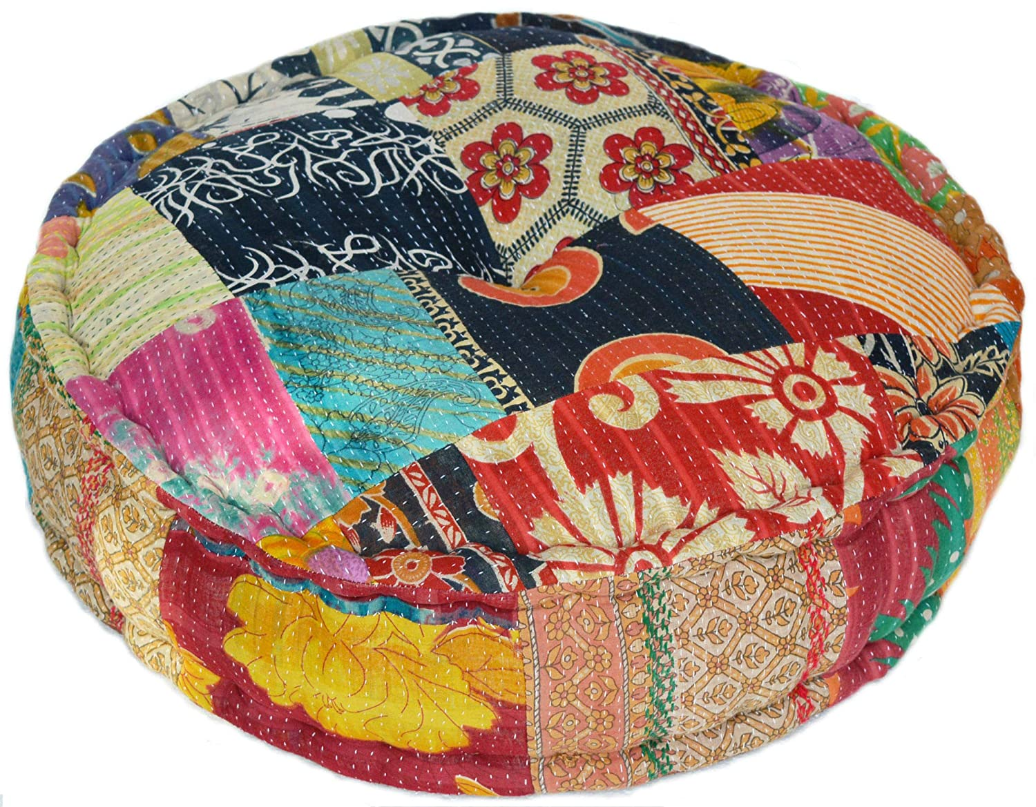 RANGILA Stuffed Indian Vintage Kantha Assorted Patch Floor Cushion; Pouf Ottoman; Round Pouf Marudhara