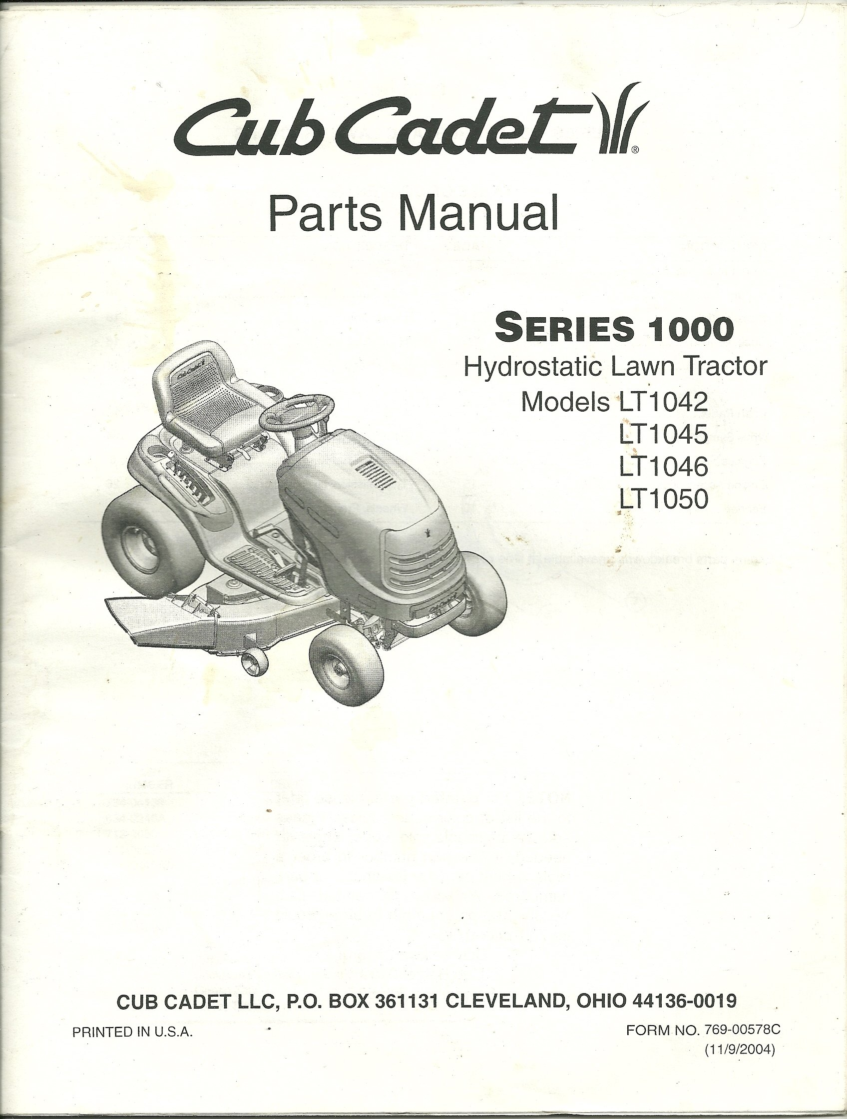Cub Cadet Parts Manual Series 1000 Hydrostatic Lawn Tractor Models LT1042,  LT1045, LT1046, LT1050: Cub Cadet: Amazon.com: Books