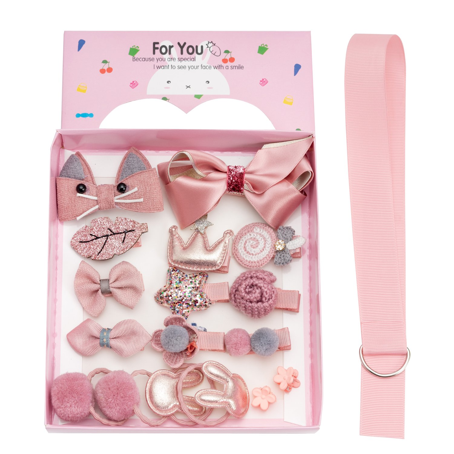 18pcs Toddler Girl Hair Clips Baby Kids Bowknot Barrette Hair Band Birthday Gift (Deep Pink) by handrong (Image #1)