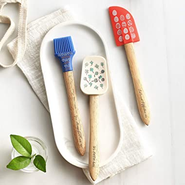 TANSUNG Silicone Spatula Set Heat Resistant, 8.5  Length Kitchen Utensils Baking Spatula & Silicone Spoon & Baking Brush with Healthy Oak Wood Handle for Cooking, Baking, Mixing, Set of 3