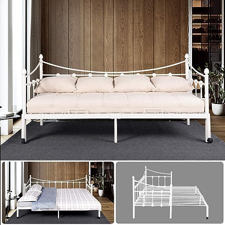 Furniture R France Lit Banquette Cadre Blanc En Metal Acier Sommier A Lattes Lit Double 2 Place Canape Lit Pour Enfants Adultes Convient Pour Le