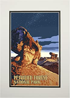 product image for Petrified Forest National Park, Arizona - Desert at Dusk (11x14 Double-Matted Art Print, Wall Decor Ready to Frame)