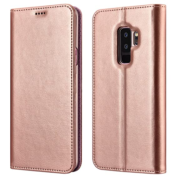 promo code 85e49 a1221 Xoomz Galaxy S9 Plus Wallet Case, Vegan Leather Folio Flip Cover with  Kickstand and Credit Card Slots for Samsung S9 Plus (2018) 6.2 Inch(Rose  Gold)
