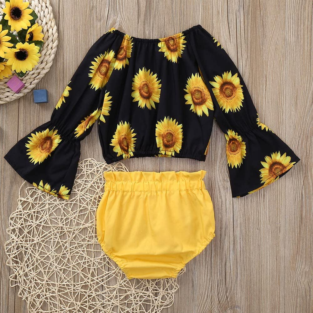 YOUNGER TREE Infant Baby Girl Sunflower Romper 6-24 Months Bodysuit Toddler Clothing One-Piece