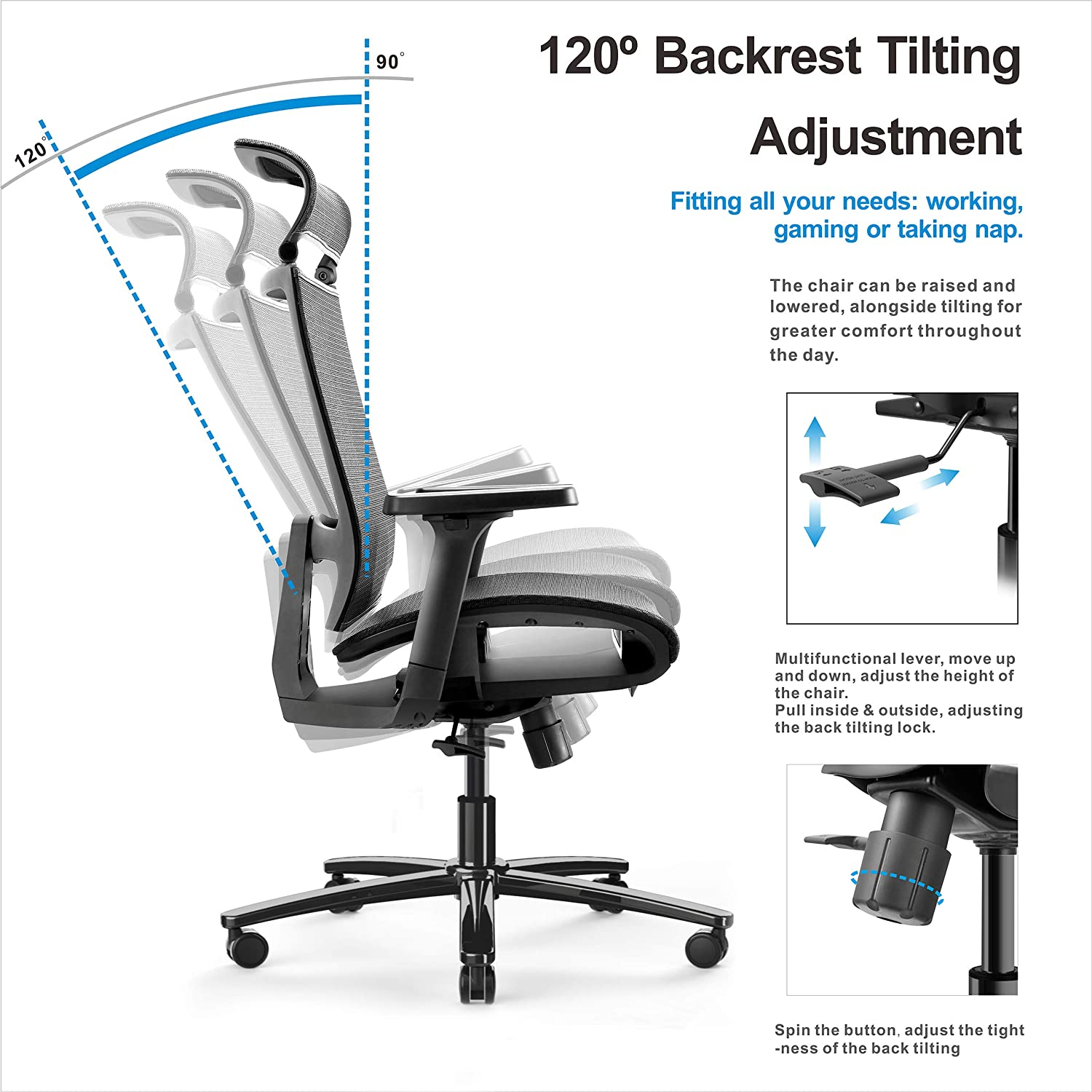 Home Office Desk Chair with 3D Arm Rests /& Adjustable Headrest Ergonomic Office Chair with Breathable Mesh Seat Height- Reclines High Back Office Chair with Ergonomic Design