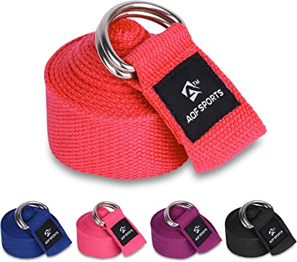 AQF Cinturon Yoga 1.8M, 2.4M, 3M Tamaños En Suave & Puro Algodón Cosas Fitness Correa Yoga con Metal D Hebilla (Rojo): Amazon.es: Deportes y aire libre