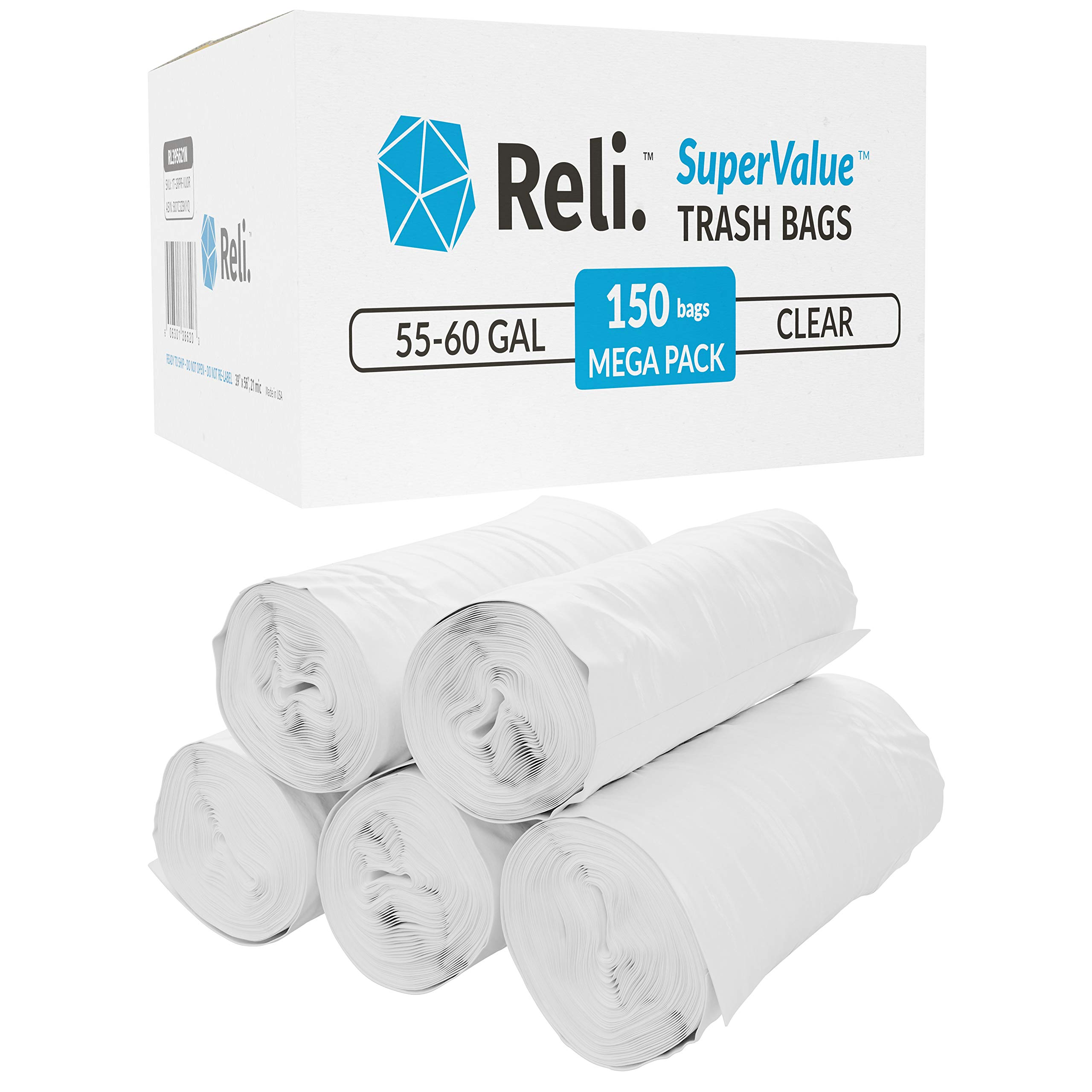 Reli. SuperValue 55 Gallon Trash Bags (150 Count Bulk) Clear Trash Bags Heavy Duty 55 Gallon - 60 Gallon - 55 Gal Contractor Garbage Bag Strength by Reli.