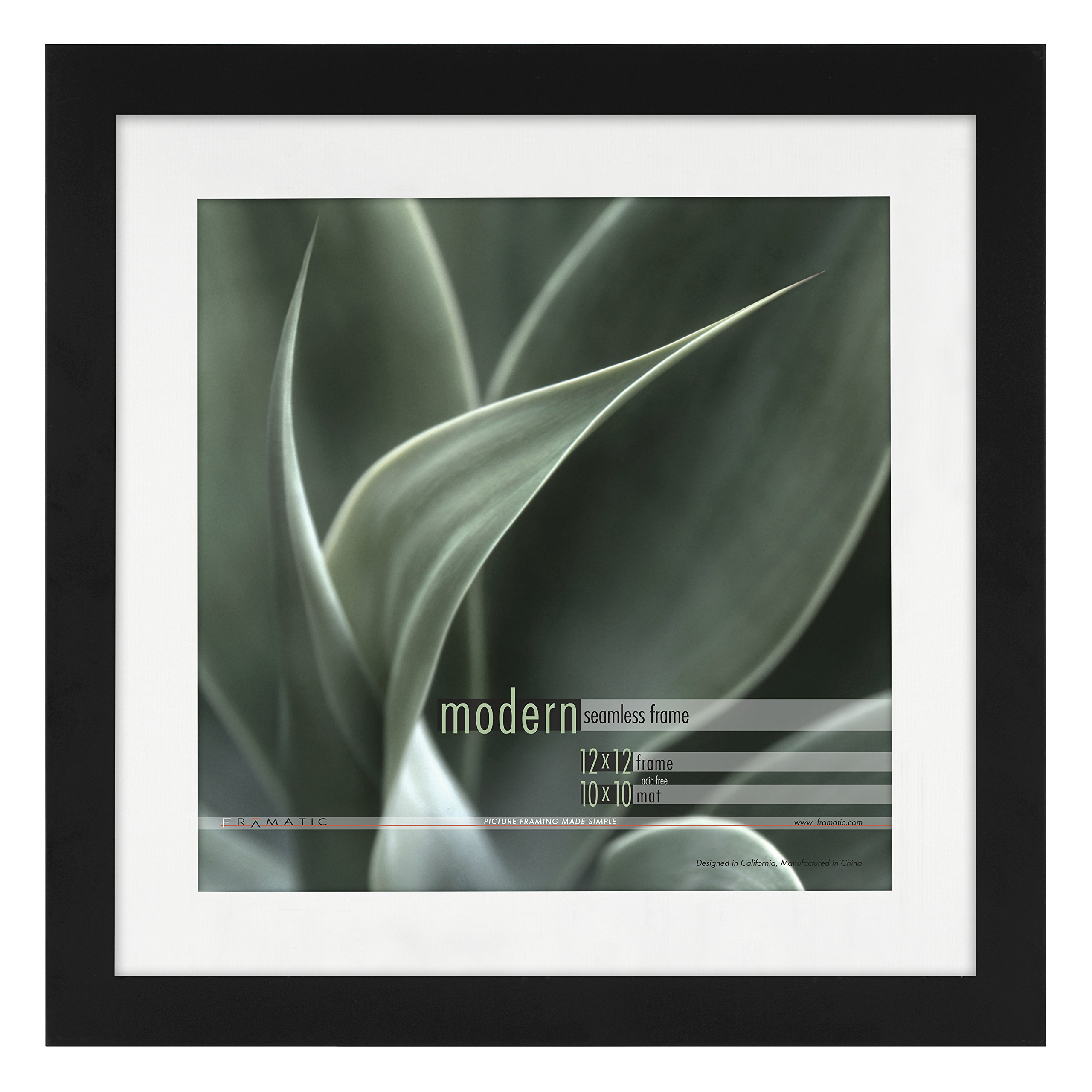 Framatic Modern 12x12 Inch Frame Matted for 10x10 Inch Photo, Black (302196)