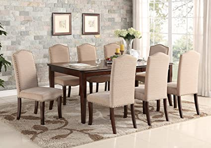 Superbe Kings Brand Furniture 9 Piece Cherry Wood Dining Room Set, Table With 8  Upholstered Chairs