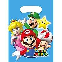 Amscan 9901541 Super Mario Partyzakjes, 8 stuks, 23 x 16,5 cm, cadeautje, kinderverjaardag
