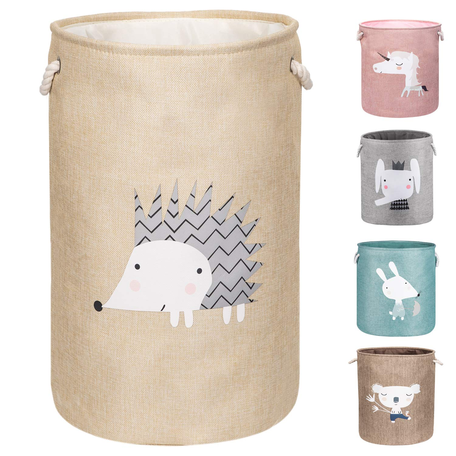 """AXHOP 22"""" Upgrade Large Collapsible Laundry Basket with Lid, Toy Storage Baskets Bin for Kids, Dog, Toys, Blanket, Clothes, Cute Animal Laundry Hamper (Hedgehog)"""