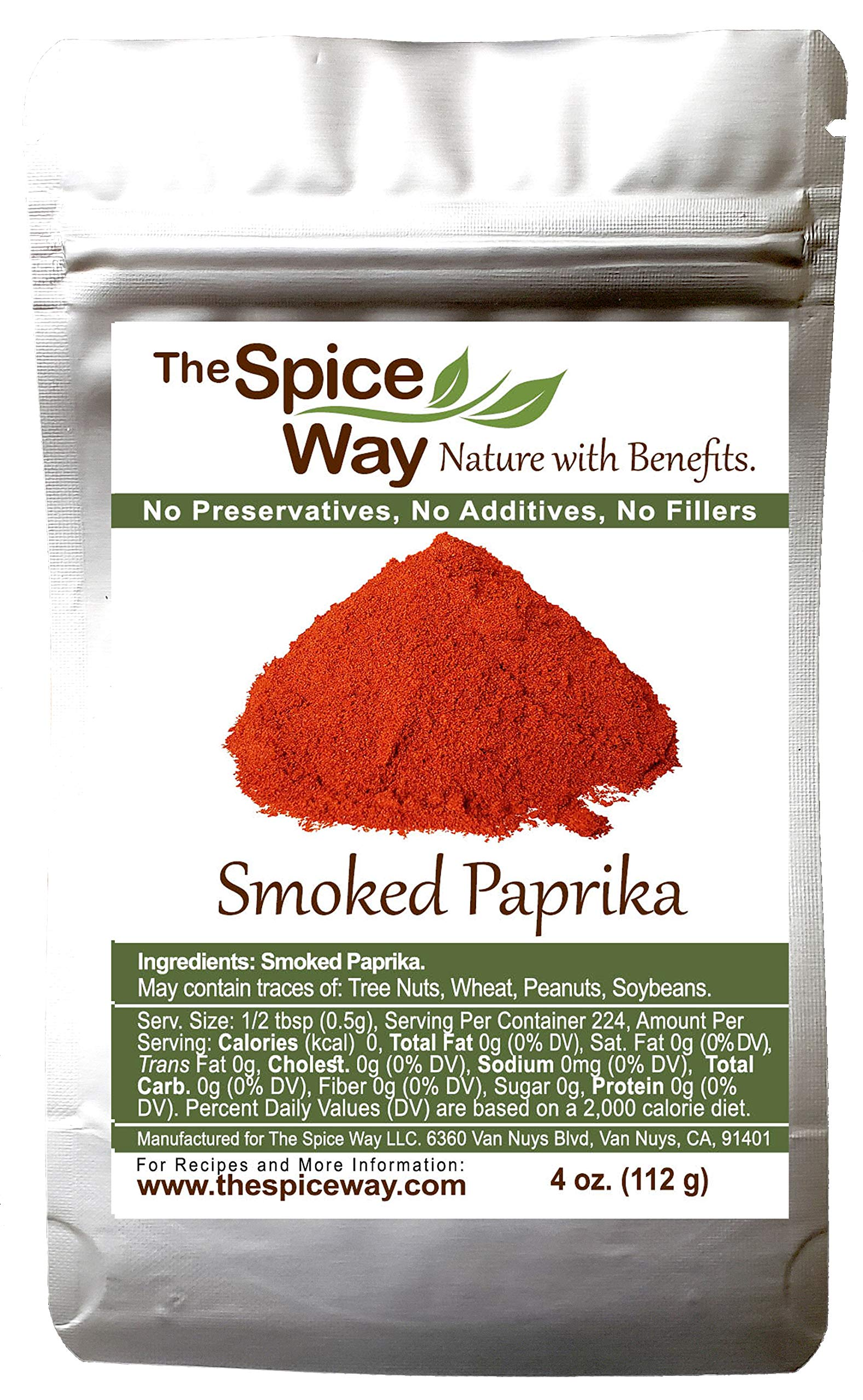 The Spice Way Smoked Paprika - pure, no additives, Non-GMO, no preservatives, no fillers. Authenticly smoked with herbs.4 oz resealable bag