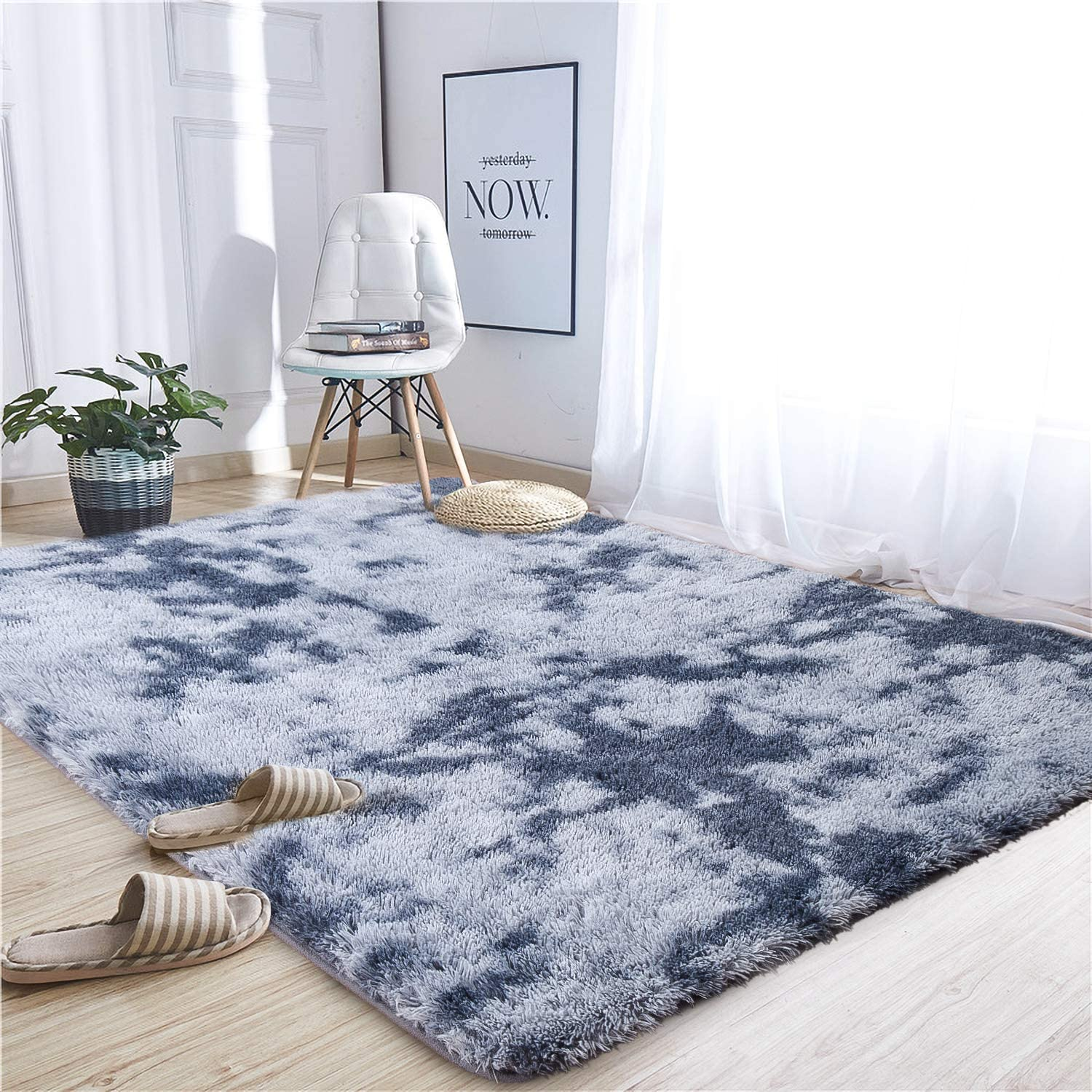 Noahas Abstract Shaggy Rug for Bedroom Ultra Soft Fluffy Carpets for Kids Nursery Teens Room Girls Boys Thick Accent Rugs Home Bedrooms Floor Decorative, 4 ft x 6 ft, Dark Blue