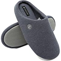 CIOR Fantiny Men's Memory Foam Slippers Comfort Knitted Cotton-Blend Closed Toe Non-Slip House Shoes Indoor & Outdoor