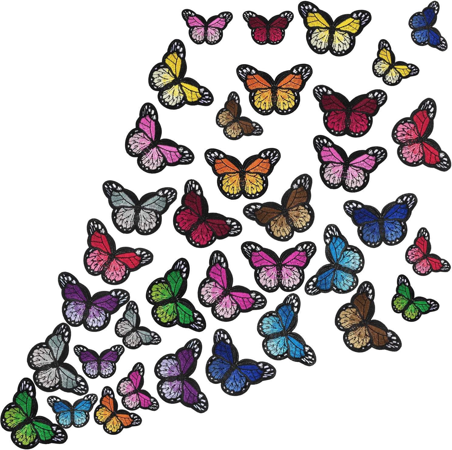 Parche Termoadhesivo de Mariposa Parche de Bordado Apliques para Manualidades Decoración Camiseta Chaqueta Zapatos Bolsa Parche de Reparación(Grande+Pequeño, 36 Piezas)