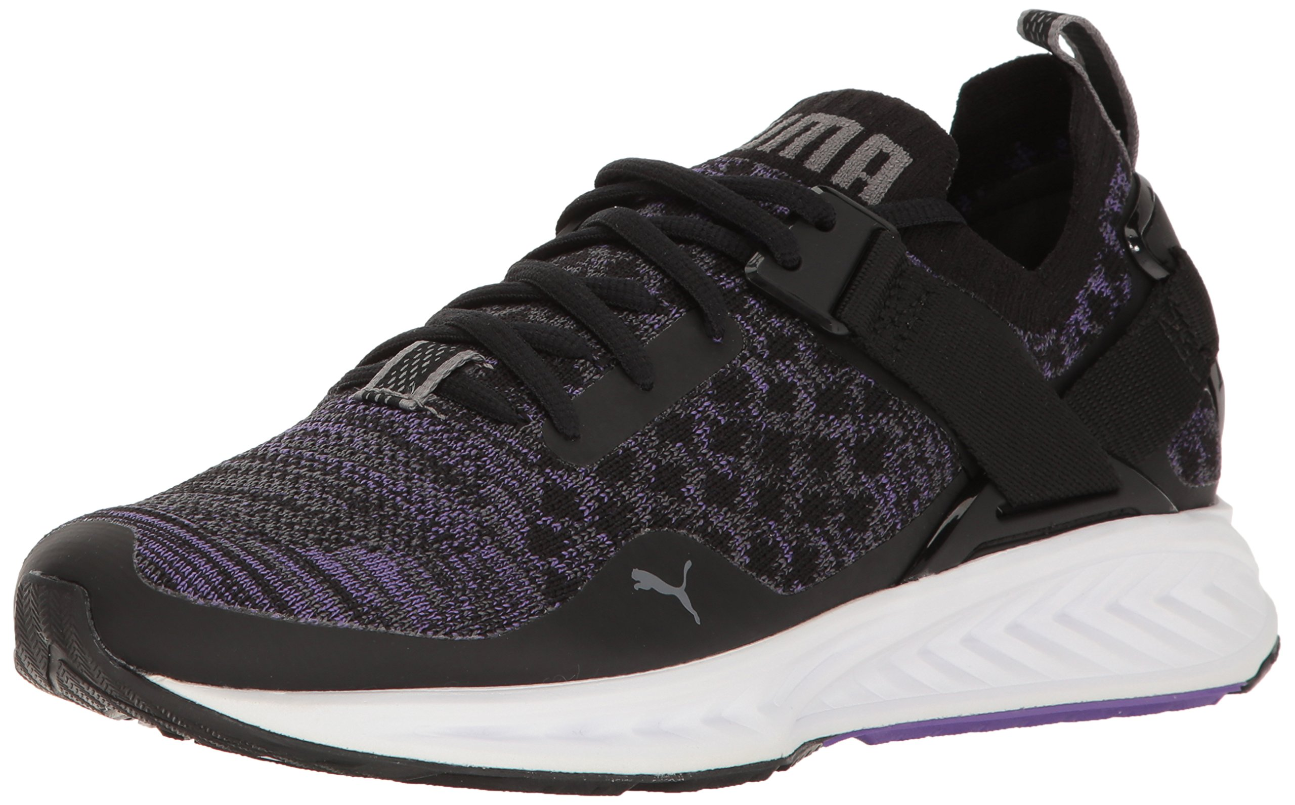 PUMA Women's Ignite Evoknit Lo Wn's Cross-Trainer Shoe, Puma Black-Electric Purple-Quiet Shade, 6.5 M US