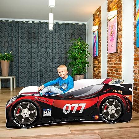 Cama infantil coche de carreras + somier (barandas) + colchón de espuma con cubierta (140 x 70 cm (3-5 años), black-red 077)