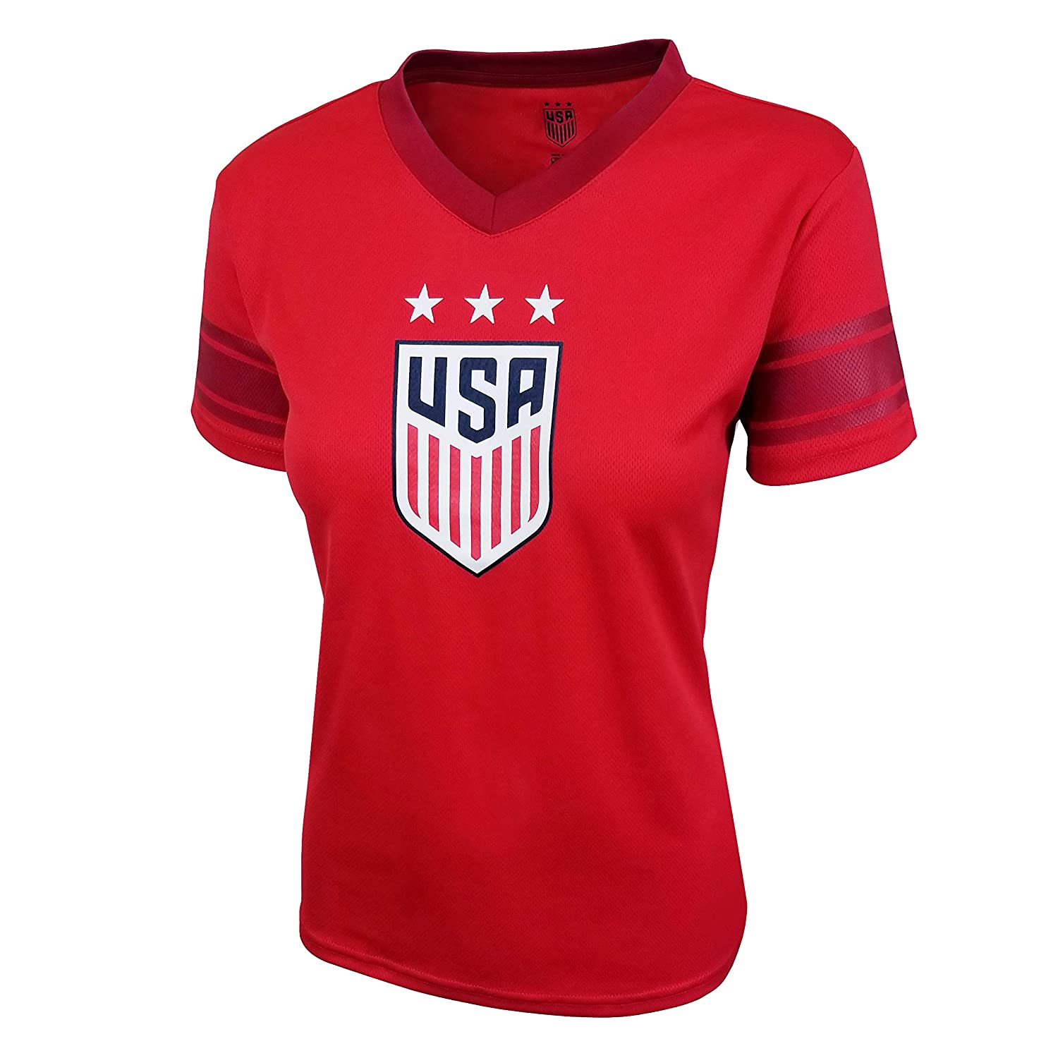 Icon Sports U.S Alternate Red, Large Soccer USWNT Womens Football Polymesh Tee