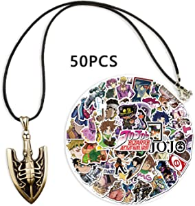 Kilmila JoJo's Bizarre Adventure Theme Stickers 50pcs (with Golden Requiem Arrow Pendant Necklace).Anime Cartoon Laptop Stickers Waterproof Skateboard Car Snowboard Bicycle Luggage