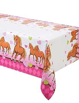 PROCOS Mantel Caballo y diseño Corazones Color Rosa Cumpleaños Infantiles
