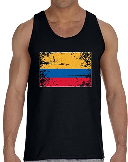 Vizor Colombia Flag Tank Top for Men Colombian Soccer Muscle Shirt Colombia  Gift Black S 11bd4caac
