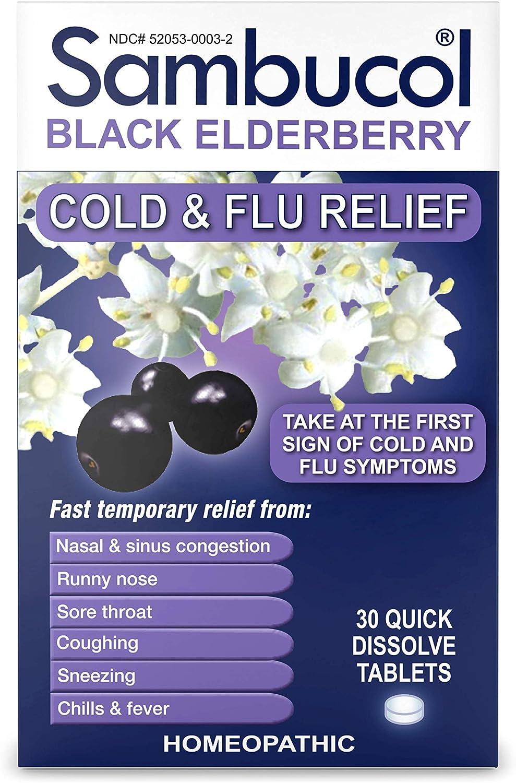 Amazon Com Sambucol Black Elderberry Cold Flu Relief Tablets 30 Ct Health Personal Care