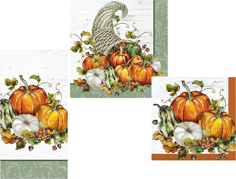 Fall Pumpkin Harvest Napkins Set   Bountiful Cornucopia Design   Bundle Includes Guest Napkins/Towels, Lunch Napkins, and Beverage Napkins   Autumn Thanksgiving Friendsgiving Theme