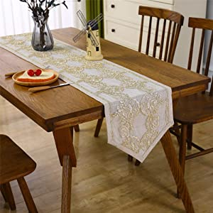 Antique Lace Table Runner Embroidered Golden Flower Pattern Elegant Table Runners for Wedding Banquet Home Dining Table Decor Beige 14 x 84 inch