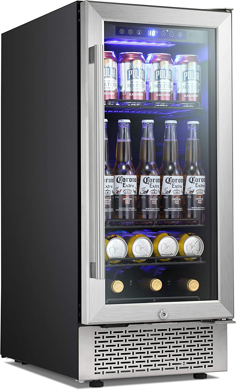 Antarctic Star 15 Inch Beverage Refrigerator Buit-in Wine Cooler Mini Fridge Clear Glass Door Digital Memory Temperature Control, Beer Soda LED Light, Quiet Operation (15 Inch)