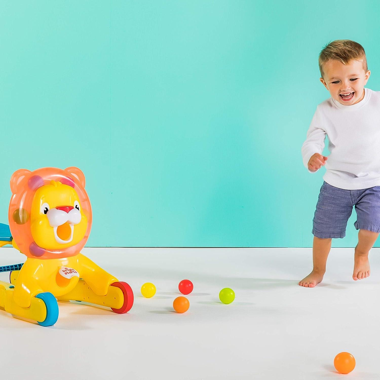 Multicolore Bright Starts//Kids II 52093 Cavalcabile su Ruote e a Spinta e Leone per Giocare
