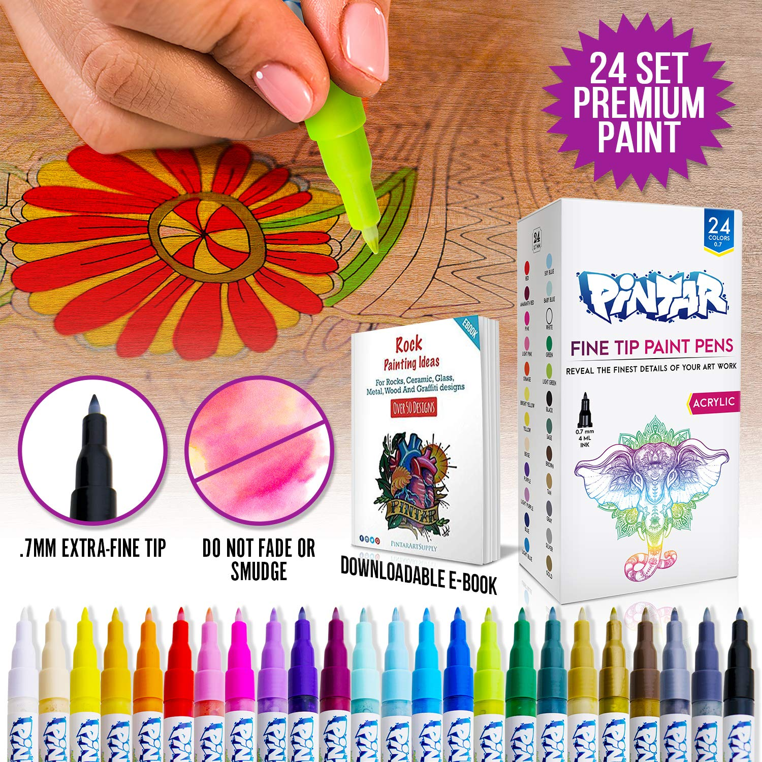PINTAR - Acrylic Fine Tip Paint Pens For Rock Painting Art - 24 Pack Vibrant Colors for Wood, Glass, Metal and Ceramic - Water Resistant and Quick Drying Ink For Arts & Crafts by PINTAR (Image #8)