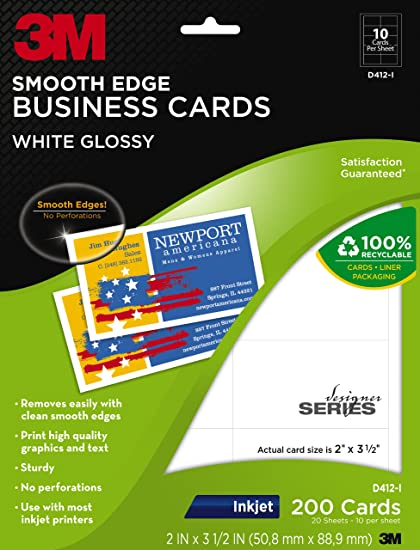 Amazon Com 3m Glossy Business Cards Smooth Edge Inkjet White 2
