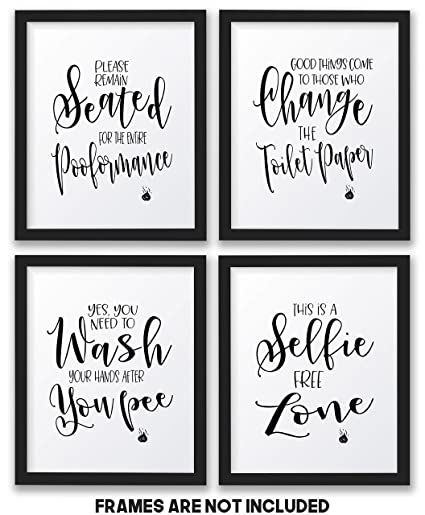 Amazon Com The John Funny Bathroom Wall Decor Signs Quotes Set Art