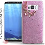 KC Sparkling Floral Flower Glitter Case Crystal Candy Soft Silicone Back Cover for Samsung Galaxy S8 - Pink Colour