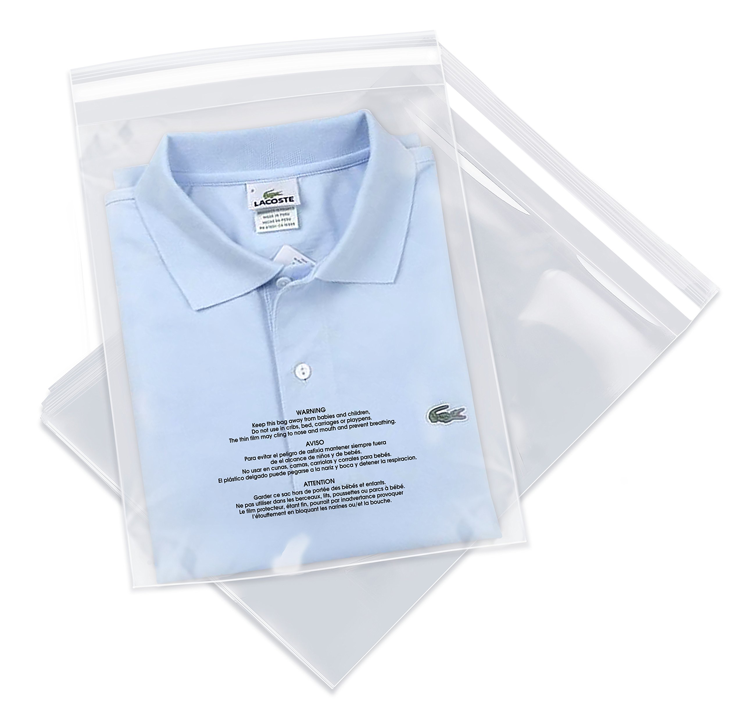 100 Count - 11'' X 14'' Self Seal 1.5 Mil Clear Poly Bags with Suffocation Warning, Permanent Adhesive & Premium Durability (Other Sizes Available)