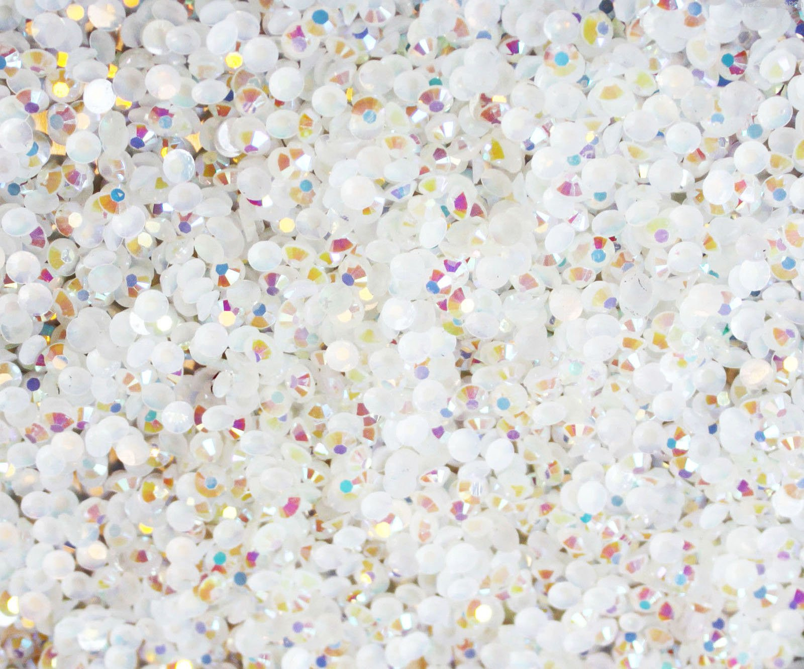 "100% Custom Made (4mm) 1000 Bulk Pieces of Mini Size ""Glue-On"" Flatback Embellishments for Decorating, Made of Acrylic Resin w/ Shiny Iridescent Crafting Rhinestone Crystal Iced Diamond Style {White}"