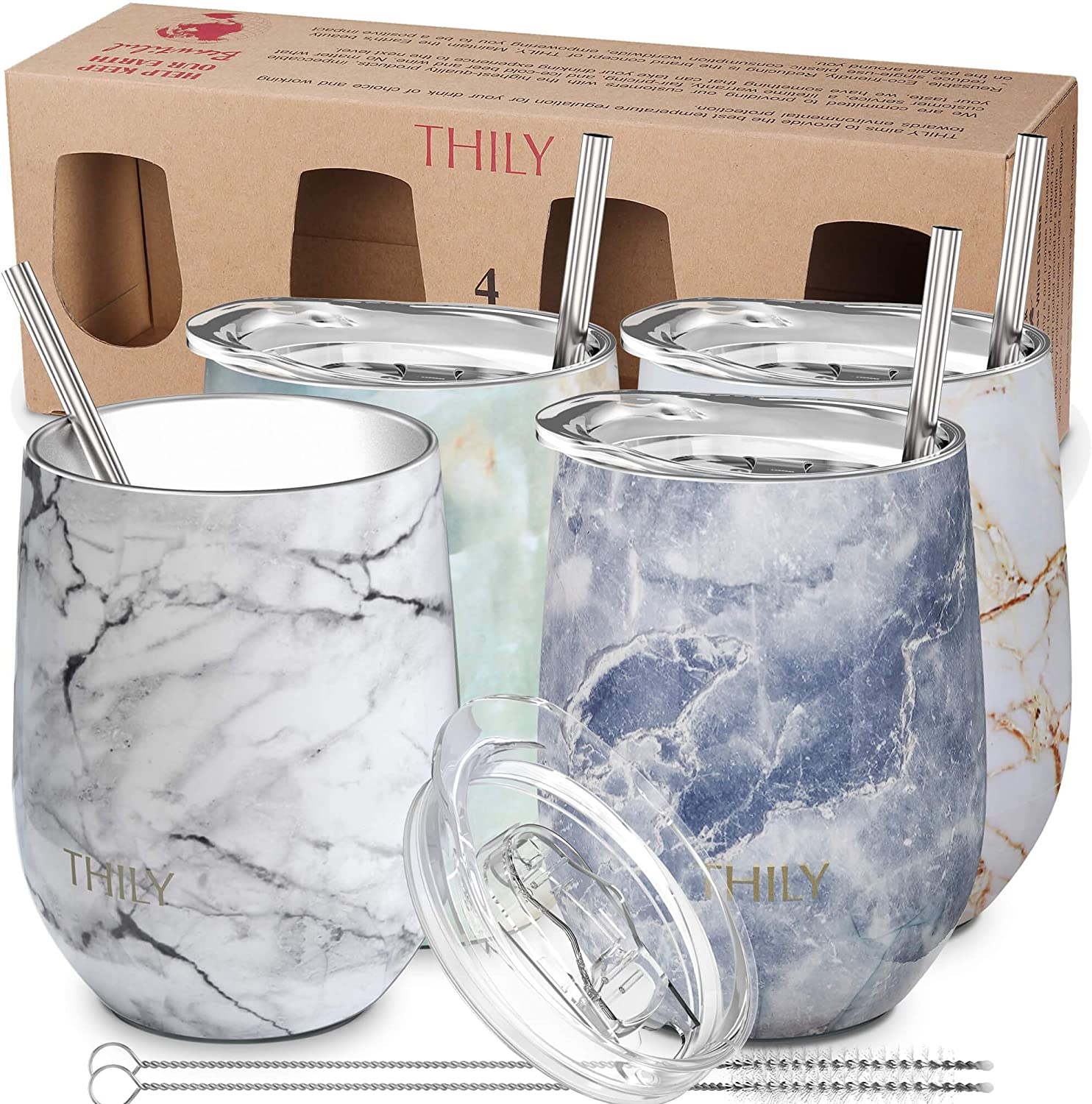 Stainless Steel Stemless Wine Tumbler - THILY 4 Pack Vacuum Insulated Travel Wine Glasses with Sliding Lids and Straws, 12 oz, Keep Cold for Juice, Coffee, Beer, 4 Different Marbles Set