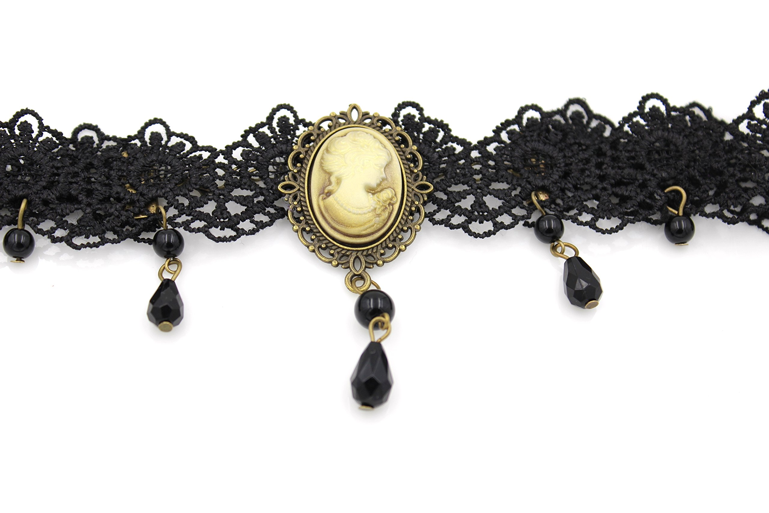 Glazed Black Cherry Steampunk Victorian Lady Cameo Choker Necklace - Gothic Goth - Bead Drop Vintage - Steam Punk - s30 5