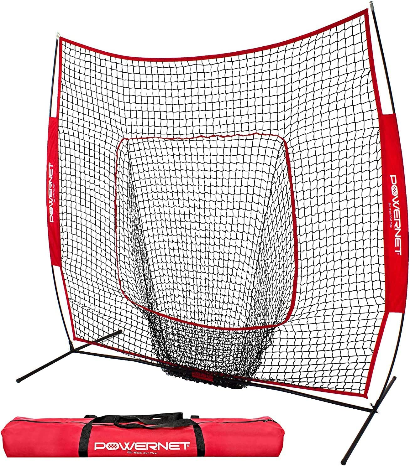 Amazon Com Powernet Baseball And Softball Practice Net 7 X 7 With Bow Frame Sports Outdoors
