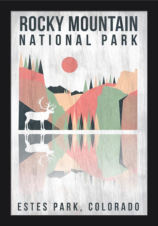 12x18 Giclee Art Print, Gallery Framed, Silver Wood Elk Colorado Rocky Mountain National park Geometric Opacity Estes park