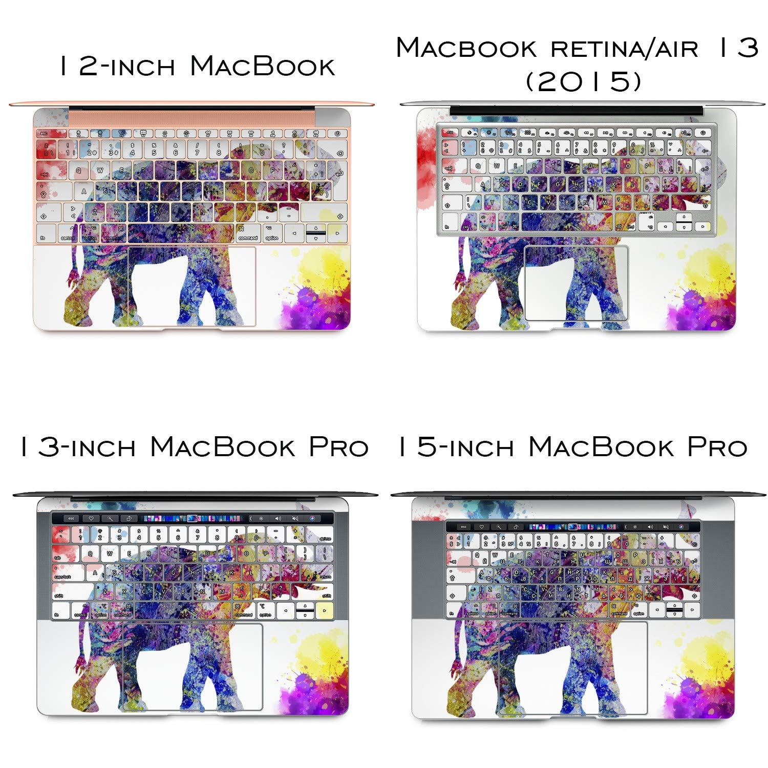 Lex Altern Vinyl Skin for MacBook Air 13 inch Mac Pro 15 Retina 12 11 2019 2018 2017 2016 2015 Watercolor Splash Pattern Nature Pink Elephant Touch Bar Laptop Cover Keyboard Decal Sticker Wrap Girl by Lex Altern (Image #3)