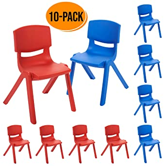 Superb Ecr4Kids 12 Inch Plastic Stackable Classroom Chairs Indoor Outdoor Resin Stack Chairs For Kids Assorted Colors Blue And Red 10 Pack Ncnpc Chair Design For Home Ncnpcorg