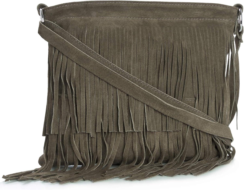 Big Handbag Shop Sac à main à frange en suède italien pour