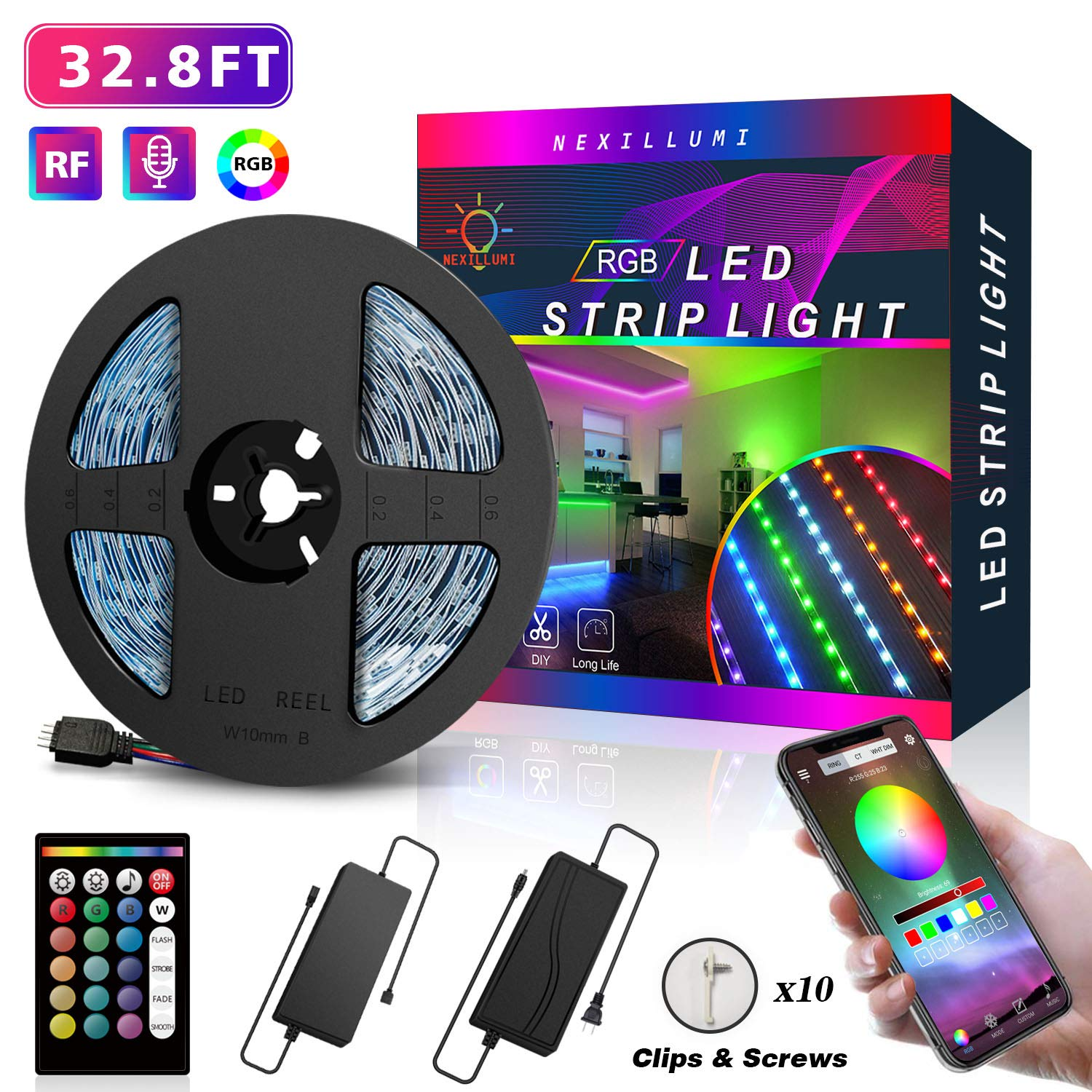 LED Strip Lights 32.8 Foot/10M, APP Control Color Changing LED Strip Lights 32.8ft SMD 5050 RGB Light Strips with RF Remote, Sync to Music for Rooms, Bedroom, Party and Interior Decoration (32.8ft)