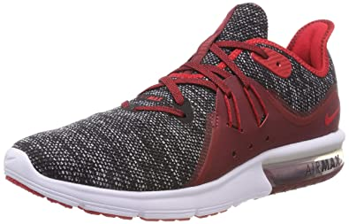 competitive price 58845 a2a60 Nike Mens Air Max Sequent 3 Running Shoes (BlackRedWhite) (